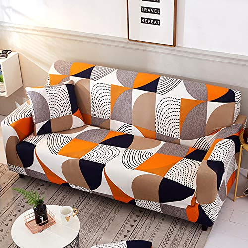nordmiex Stretch Sofa Slipcovers Fitted Furniture Protector Printed Sofa Cover Stylish Fabric Couch Cover with 2 Pillowcases for 4 Cushion CouchSofa-4 SeaterGeometric Style 2