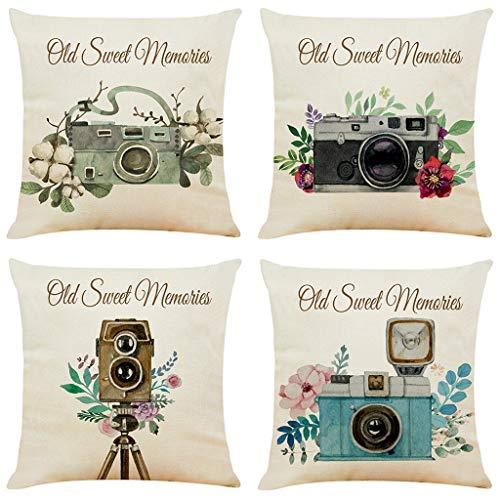 Fangoog Throw Pillow Covers - Set of 4 Festival Decorative Square Pillow Case Soft Solid Cushion Covers Pillowcase Durable Cushion Slipcover for Couch Sofa Bedroom Decor 18 x 18 Camera