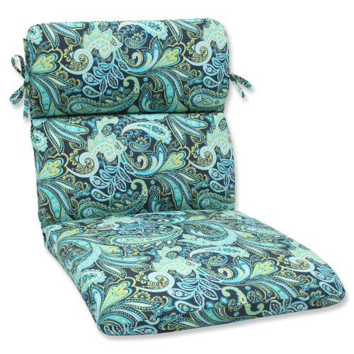 Pillow Perfect Outdoor Pretty Paisley Rounded Corners Chair Cushion Navy