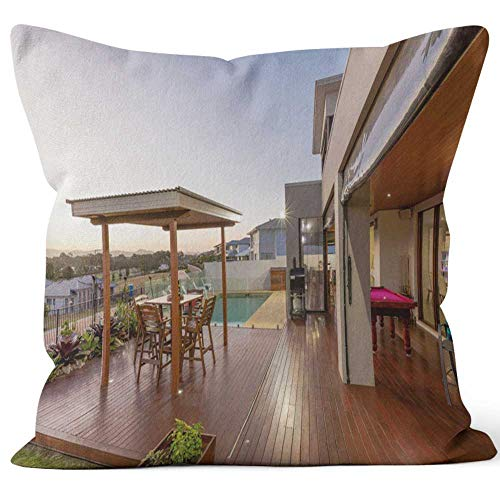 Backyard Patio Setting with Swimming Pool at Sunset Home Decorative Throw Pillow CoverHD Printing Square Pillow case18 W by 18 L