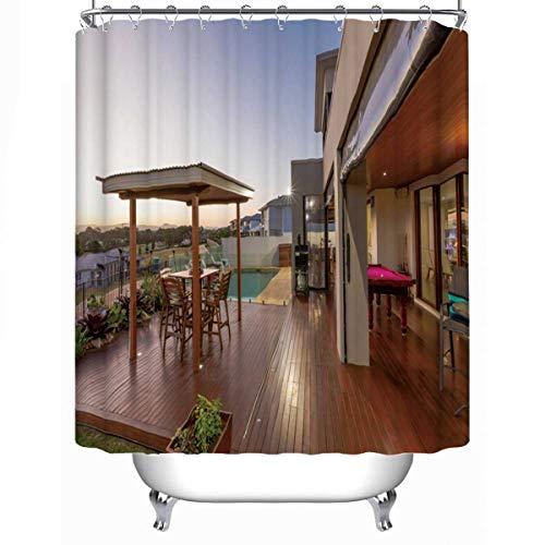 MOOCOM Backyard Patio Setting with Swimming Pool at Sunset Waterproof Shower Curtain07469779L x 71W