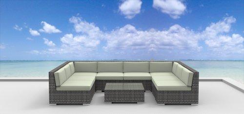 UrbanFurnishingnet 9b-tahiti-biege 9 Piece Modern Patio Furniture Sofa Sectional Couch Set
