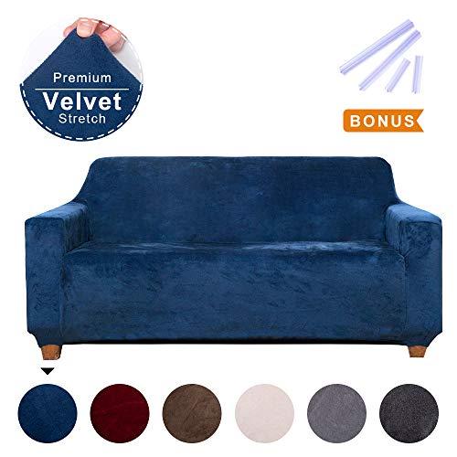 ACOMOPACK Premium Velvet Loveseat Cover High-Stretch Velvet Stretch Couch Cover Loveseat Couch Slipcovers for 2 Cushion Couch Loveseat Cover Protector with Side Pocket Navy Blue