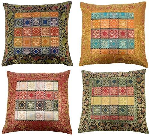 ANJANIYA 4 Banarsi Silk Beautiful Boho Cushion Cover Indian Bohemian Style Silk Throw Pillow Case Hippie Decorative Sofa Couch Cushion Cover Zippered 16x16 Inch Style-1
