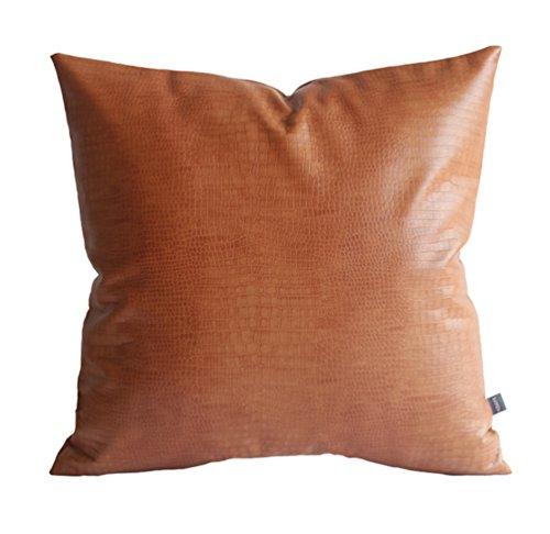 Kdays Faux Leather Crocodile Skin Tan Throw Pillow Cover Decorative Sofa Couch Cushion Covers Farmhouse Bohemian Decor Living Room Accent Modern Minimalist Vegan Pillow 22x22 Inches