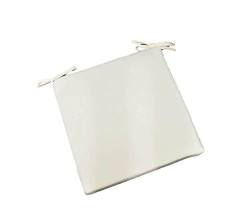 Indoor  Outdoor Premium Sunbrella White Fabric Universal 2&rdquo Thick Foam Seat Cushion W Ties For Dining Patio