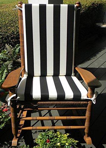 Indoor  Outdoor Blackamp White Stripe Print Rocking Chair 2 Pc Foam Cushion Set ~ Fits Cracker Barrel Rocker