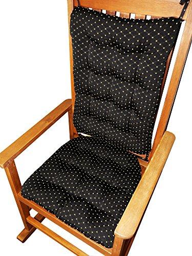 Rocking Chair Cushions - Tiffany Blackamp Gold Diamond Brocade - Standard - Latex Foam Fill - Made In Usa