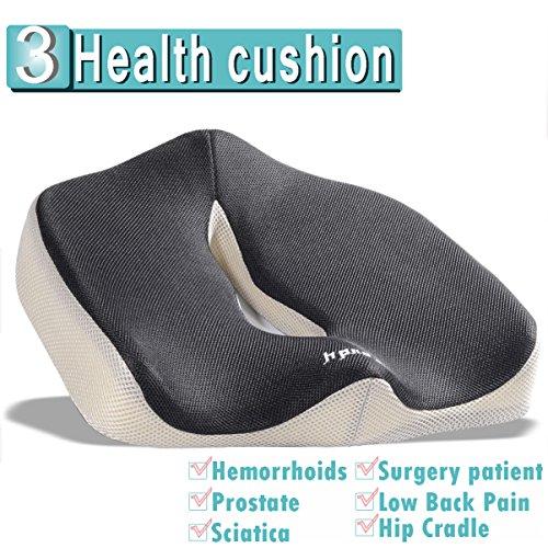 iCoudy Memory Foam Seat Cushion Seat Cushion Car Seat Cushion Chair Cushion Sciatica Cushion Prostate Cushion Low Back Pain Cushion GreyBlack