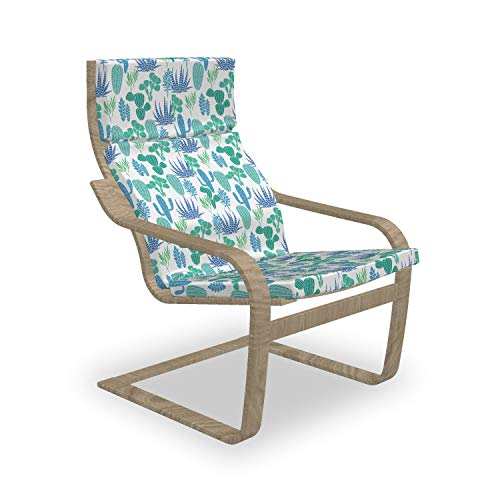 Lunarable Cactus Poäng Armchair Slipcover Succulents Cacti Plant Botanical Garden Tropical Hipster Plants Chair Cushion Replacement with Zipper and Hook Loop Green Violet Blue
