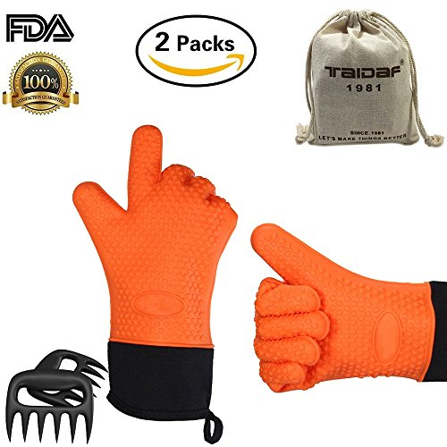 Set of 2 Hot Hands Orange BBQ GlovesTAIDAF 1981 Heat Resistant Barbecue Insulated Silicone Oven MittsLong Sleeve Protective Heated Gloves for GrillSmokingCooking- with 2 x Pork Meat Claws
