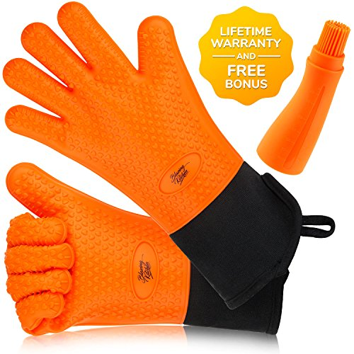 Silicone Cooking Gloves By Blazing Kitchen - Heat Resistant Oven Mitts And Potholder - Extra Long with Internal Cotton Lining - Great for Grilling BBQ Baking And Smoking