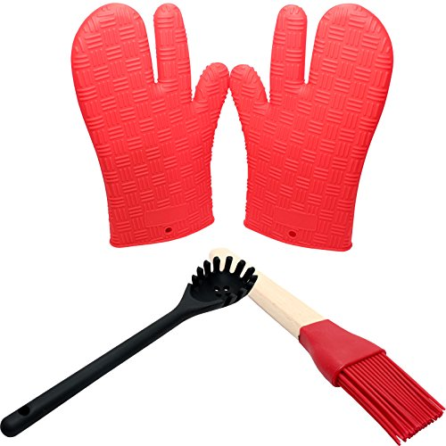 Silicone Cooking Utensils For Nonstick Cookware - Silicone Mitts Silicone Food Brush Silicone Pasta Fork - Protective Oven Grill BBQ Fireplace Microwave Baking Smoking and Cooking Gloves
