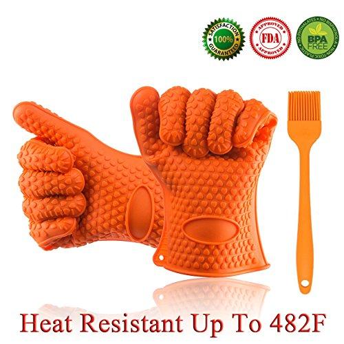 Homaker Silicone Bbq Gloves 482f Heat Resistant Oven Mitts Grill Gloves For Baking Smoking Potholder Bonus Basting