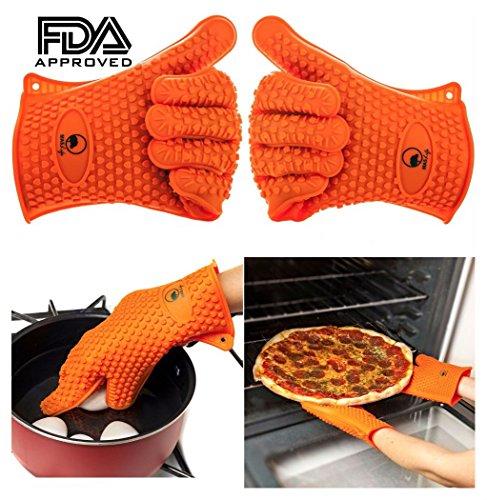 2 Silicone BBQ Gloves Heat Resistant Pot Holder Grill Kitchen Cook Oven Mitt USA