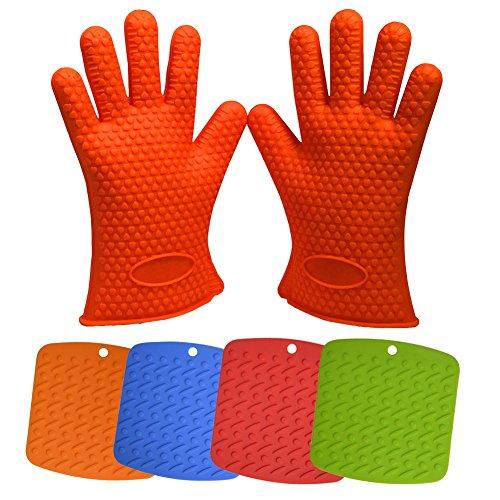 Iserlohn Silicone Heat Resistant Bbq Grill Glovesoven Mitts Great For Cooking bakingsmokingamp Potholder Orange