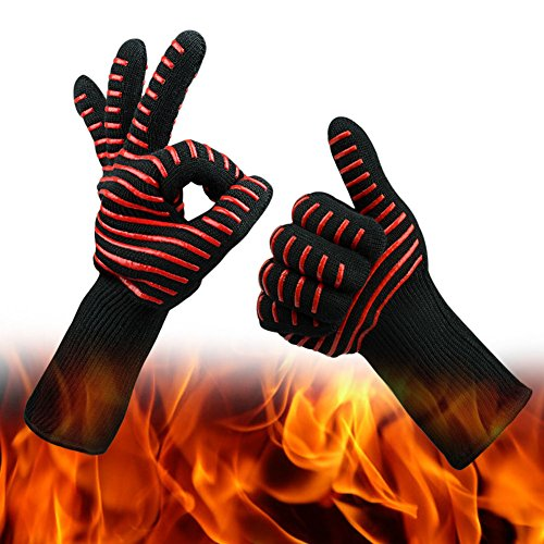CoolingTech BBQ Gloves Grilling Cooking Gloves 932°F Extreme Cut Heat Resistant Gloves Kevlar Oven Gloves Mitts 14 Long For Extra Forearm Protection 1 Pair
