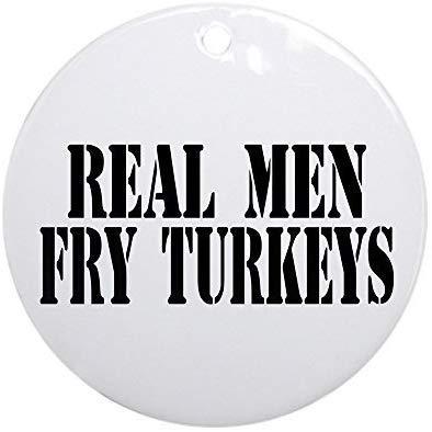 Mars Secret Novelty Decoration Real Men Fry Turkeys Christmas Ornaments Ceramic Round Christmas Tree Hanging Keepsake 3 Inches