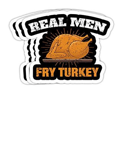 goldbabytee Men Fry Turkeys Funny Thanksgiving Day Tee for Men- 4x3 Vinyl Stickers Laptop Decal Water Bottle Sticker Set of 3