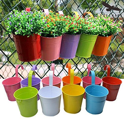 Hanging Flower PotsOut Topper Balcony Garden Plant Planter Metal Iron Mini Flower Seedlings Brigade Fence Bucket Pots Hanger Planter for Home Decor 5pcs