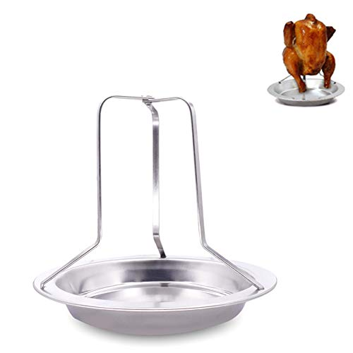 1PC Chicken Roaster Rack Folding Stainless Steel Vertical Roaster Chicken Holder With Drip Pan For Oven Or Barbecue Useful Kitchen SuppliesSilver