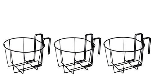 ESYLIFE Over the Deck Metal Flower Pot Holder Plant Hangers Set of 3