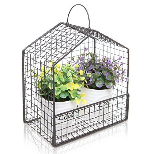 Black Metal Mesh Wire House Design Hanging or Freestanding Succulent Plant Holder  Display Shelf Basket