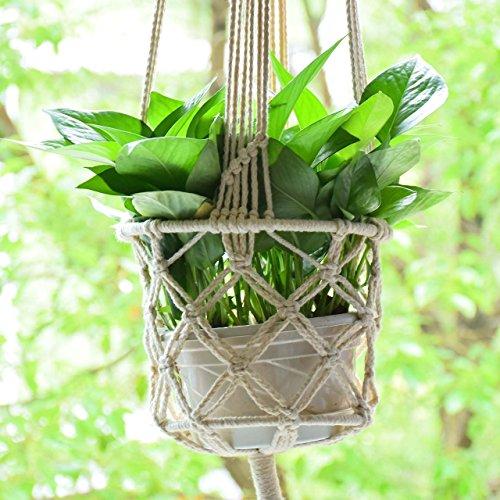 Indoor Outdoor Plant Pot Support Macrame Jute Hanging Plant Holders Plant Hanger Basket Hanging Planters Plant Hanging Flower Pot Holder 43 inch