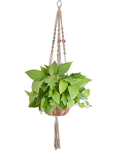 Magnolian Macrame Plant Hanger Indoor Outdoor Hanging Planter Basket Jute Rope Handmade Knotted Plant Hanging Holder 4 Legs 42 Inch
