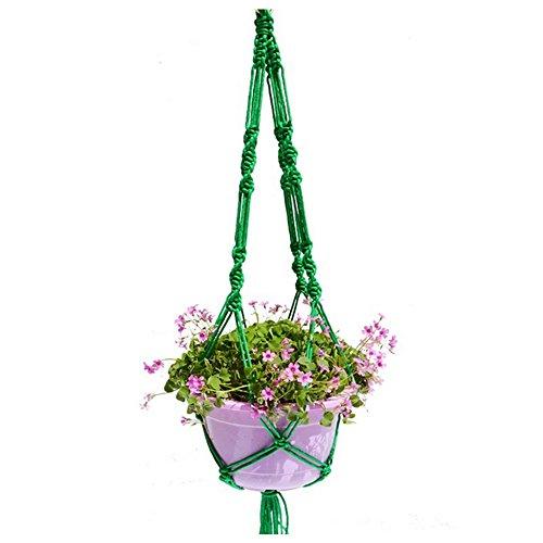 Plant Hanger Nylon Hanging Planter Holder Basket Jute 2 Leg 40 Inch Plant Hanger for Indoor Outdoor Round Square Pots Green