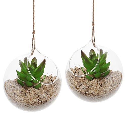 Set Of 2 Decorative Clear Glass Globe  Hanging Air Plant Terrarium Planter  Candle Holder - Mygift&reg