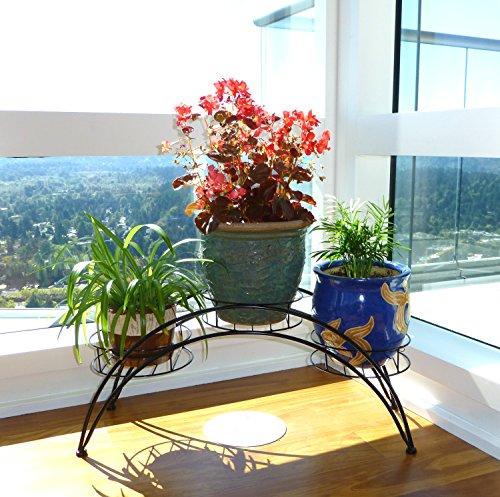 Elegant Arch Design Black Metal Plant Stand  Flower Pots Shelf Unit  Decorative Planter Stand - MyGift
