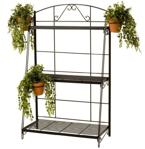 River North 3 Shelf Stand With 3 Pot Holder Rings - Black