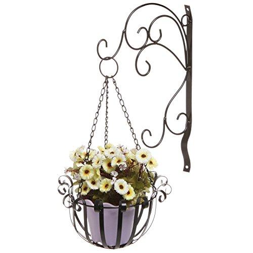 Vintage Style Scrollwork Design Black Metal Wall Mounted Hanging Plant Flower Planter Pot Hook Rack