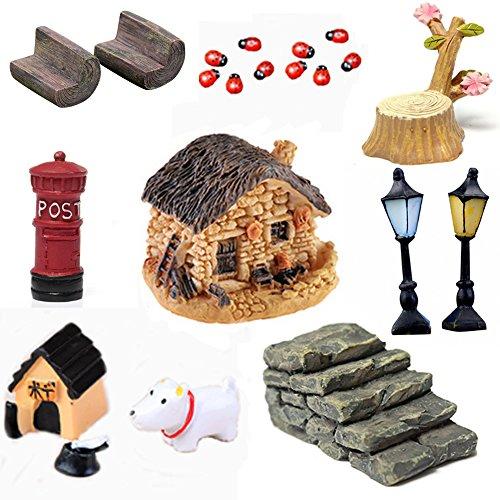 Buytra 21-piece Miniature Fairy Garden Ornament Dollhouse Plant Pot Figurine Diy Home Decoration