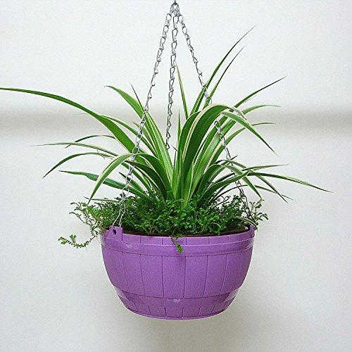 SunnyCZ 1Pcs Beautiful Hanging Flower Pot Colorful Planter Chain Basket Pot Planter Holder Barrel Pot Random Colors