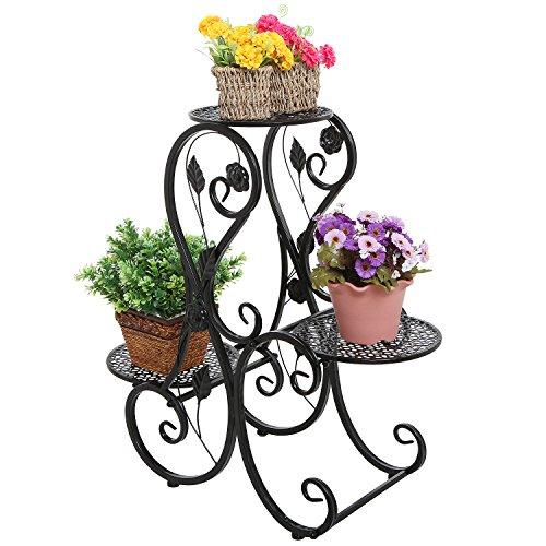 Decorative Black Metal Scrollwork Leaf Design 3 Tier Potted Plant Stand  Flower Pot Holder Display