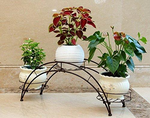 Plant RackAISHN Elegant Arch Design Black Metal Plant StandFlower Pots Shelf Unit  Decorative Potted PlantGrow Stand Rack Organizer with 3 holdersBronze