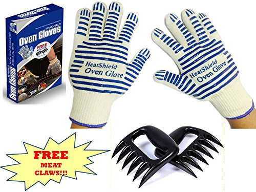 Cooking Gloves - Heat Resistant Gloves - Use As Pot Holders Bbq Gloves Oven Mitts - Set Of 2 Gloves - Premium