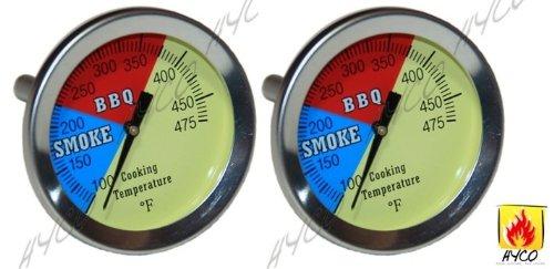 Vicool 2 475F 2-pack BBQ CHARCOAL GRILL PIT WOOD SMOKER TEMP GAUGE THERMOMETER 25 STEM SS RWB
