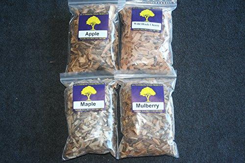 Jcs Smoking Wood Chips - Variety 4 Pk - 65 Cu Inch Quart Bags Of Apple Wild Black Cherry Mapleamp Mulberry