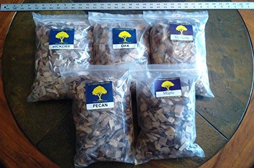 Jcs Smoking Wood Large Chips - 5 Pk Gallon Sized Bags - Hickory Maple Mulberry Oakamp Pecan