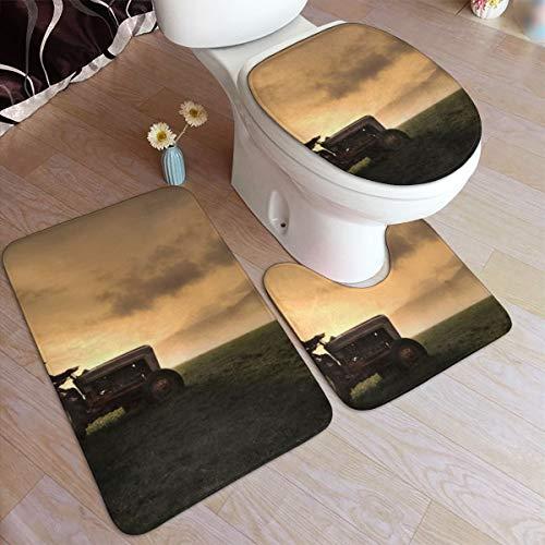 GHWSgGN Farmer Riding A Tractor Bathroom Rug Mats Set 3 Piece Fashion Anti-Skid Pads Bath Mat  Contour  Toilet Lid Cover