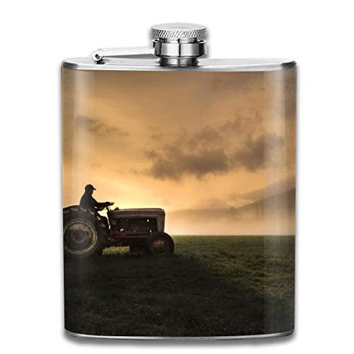 Steel Stainless FlaskFarmer Riding A Tractor Pocket FunnelScrewed Top Liquor Alcohol Whiskey Spirits Hip for Men7 OZ