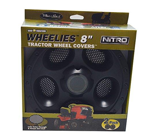 Good Vibrations Wheelies Nitro Series - Riding Lawn Mower Tractor Golf Cart Wheel Covers - Snap Fit to The Rim - 8 inch Diameter Black  2pk