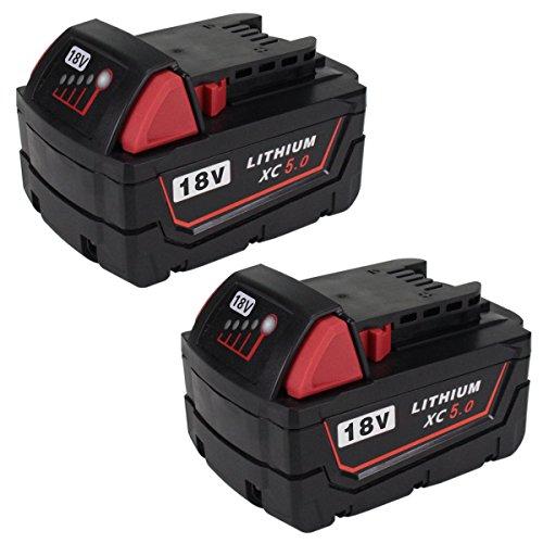 2Packs Replace 18V XC 5000mAh Battery for Milwaukee M18 M18B 48-11-1820 48-11-185048-11-1828 48-11--10 Cordless Power ToolsGERIT BATT