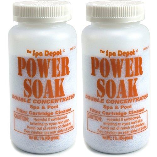 2-Pack Power Soak Spa Pool Filter Cartridge Cleaner - 2 x 1 lb bottles