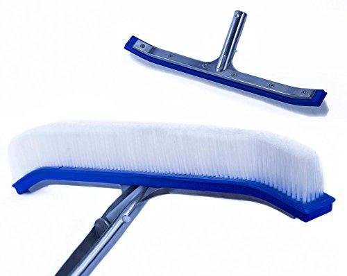 Sola 18 Pool Brush Curved with Aluminum Back and Handle-Nylon Bristles-Blue Brush Body Metal Pool Broom Tool