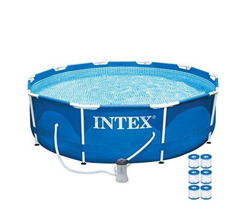 Intex 10 X 30&quot Metal Frame Set Swimming Pool W 530 Gph Pumpamp 6 Pack Filters