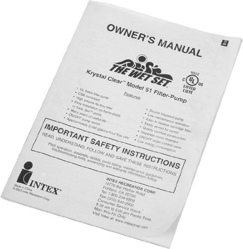 Intex 1500 GPH Pool Filter Pump Instruction Manual